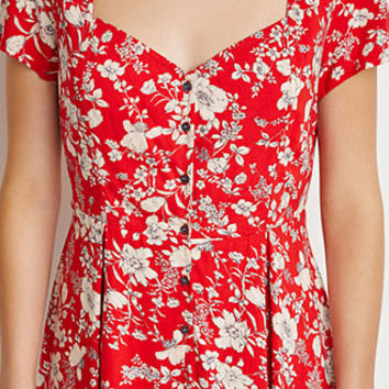 Pleated Floral Fit & Flare Dress