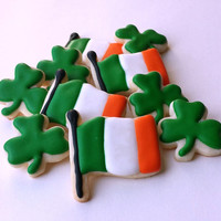 Mini St. Patrick's Day Cookies - Irish Flag - Shamrocks