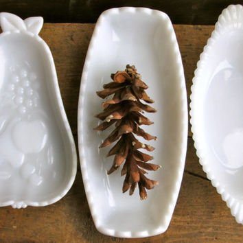 Collection of Milk Glass Dish Serving Relish tray housewares Serving Holiday entertaining tabletop