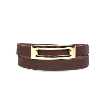 Buckled Leather Bracelet- Sienna