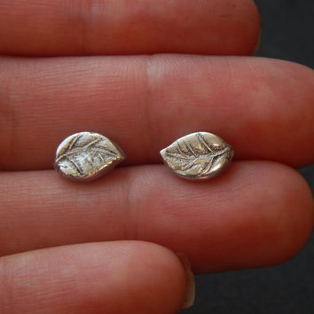 Teeny Tiny PMC Fine Silver Leaf Earrings - PMC Fine Silver Jewellery - Tiny Earrings - Silver Leaf Earrings - Silver Stud Earrings - Studs