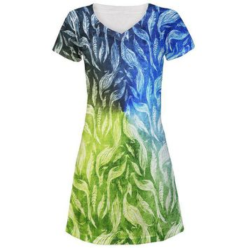LMFCY8 Peacocks And Feathers All Over Juniors Beach Cover-Up Dress