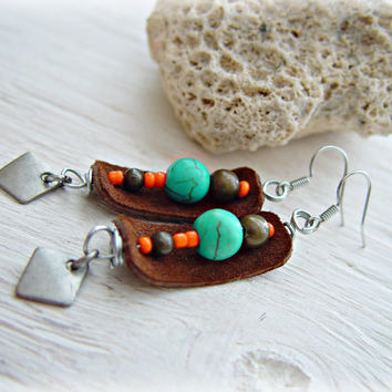 Boho Jewelry - Boho Hippie Earrings - Boho African Earrings - Tribal Earrings - Ethnic Earrings - Turquoise Earrings