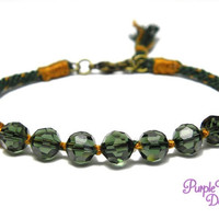 Green Crystal Kumihimo Bracelet, Braided Rope Bracelet with Tourmaline Faceted Glass Beads, Tassel & Antique gold Clasp