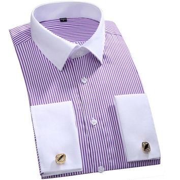 Galeo Men French Cuff Long Sleeves Fit Dress Shirts (Cufflink Included)