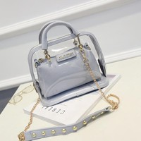 2016 summer candy color women leather PVC purses and handbags chain shell transparent hand bag fashion shoulder beach bags women