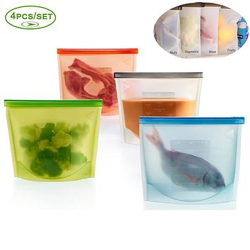 4PCS REUSABLE SEAL SILICONE FOOD FRESH BAG VACUUM SEALER COOKING BAG FOOD CONTAINER MICROWAVE COOKING BAG FOR FRUITS BREAD