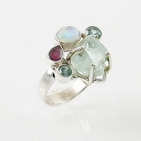 Aquamarine Rough Multi-Gemstone Sterling Silver Ring