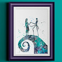 Jack and Sally | The Nightmare Before Christmas Watercolor Home Print