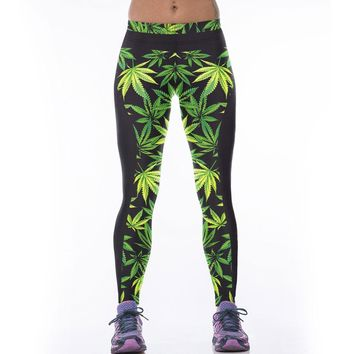 Green & Black Leaves - Cannabis Yoga Leggings - Women's CannaLeggings