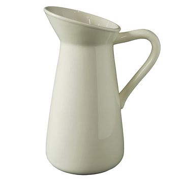 """Hosley's White Ceramic Pitcher / Vase - 10"""" High, for Flowers / Decorative Use. Ideal for Dried Floral Arrangements Gifts for Home, Weddings, Spa and Aromatherapy Settings O3"""