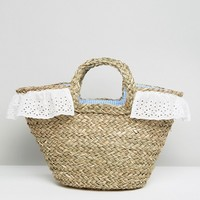 South Beach Straw Beach Bag With Gingham Lining at asos.com