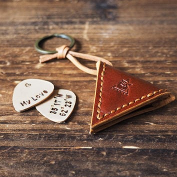 Personalized Leather Guitar Pick Case Keychain #Whiskey Brown
