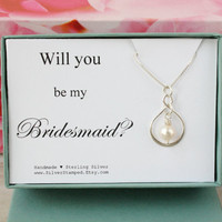 Will you be my Bridesmaid Gift for Bridesmaid necklace, Bridesmaids jewelry, wedding party gift, bridesmaid invite, boxed gift