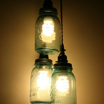 Best mason jar pendant light products on wanelo 3 jar pendant light vintage blue mason jar chandelier light hanging mason jar hanging aloadofball Image collections