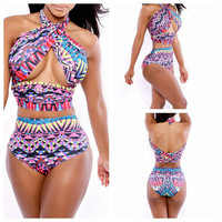 Trend Series Of Sexy Women Swimsuit Nightclub Swimwear Plus Size Digital Print Bikini Colorful Wire Free Beach Bikini YH7008