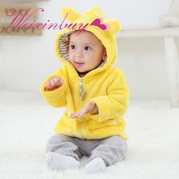 Weixinbuy Newborn Baby Autumn Warm Cute Jackets Coat Cat Ear Hooded Outerwear Kids Jacket Children Clothing 0-2Y