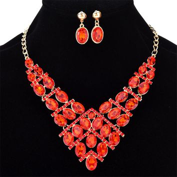 Miss JQ Women's Bridal Beautiful Colorful Crystal Statement Rhinestone Jewelry Set