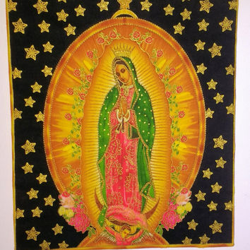 Our Lady of Guadalupe Religious Home Decor - Virgin Mary Decorative Panel  - Lady of Guadalupe Handmade Panel  - Catholic Shelf Sitter