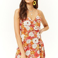 Floral Mock Button Mini Dress