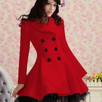 Double Breasted Coat with Net - Red