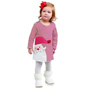 Toddler Kids Baby Girls Santa Striped Princess Dress Christmas Outfits Clothes