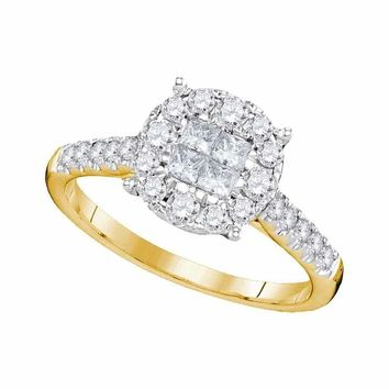 14kt Yellow Gold Women's Princess Round Diamond Soleil Cluster Bridal Wedding Engagement Ring 3/4 Cttw - FREE Shipping (US/CAN)