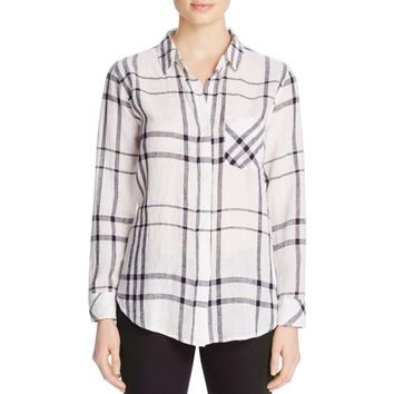 Rails Womens Linen Plaid Button-Down Top