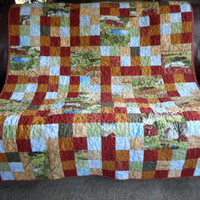 Barn Cow Tractor Farm Quilt, Cowboy Quilted Throw, Handmade lap quilt, Red Gold sofa blanket, cowboy toddler bedding, boys farm quilt, dairy