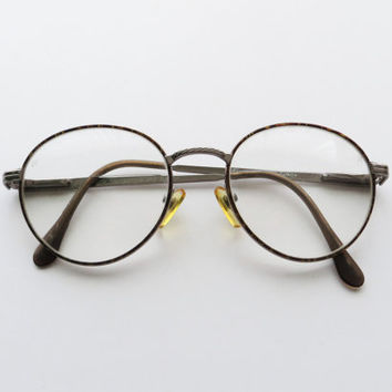 90s Round Wire Rim Eyeglasses, Maroon Tortoise Shell and Silver, Hakim Unisex