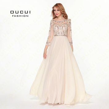 Real Photos Tulle And Chiffon Fabric Three Sleeve Beading Hand work Formal Evening Gowns Muslim Dresses OL102422