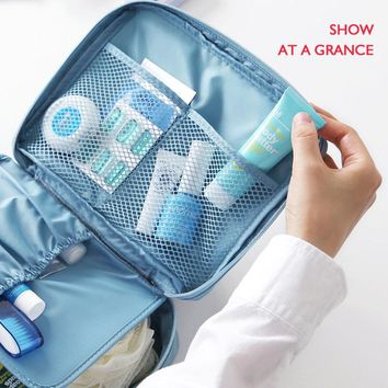 Fashion Solid Travel Toiletry Bag Neceser Portable Make Up Bag For Women Men Cosmetic trousse de maquillage Beauty package