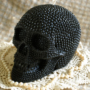 Pure Beeswax BIG Skull Candle in Black