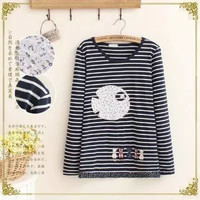 Stripe Cat And Fish Embroidered Sweater