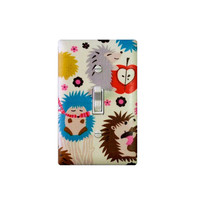 Woodland Nursery Decor / Light Switch Plate Cover / Hedgehog / Baby Boy Girl / Kids Room / Kitchen / Michael Miller