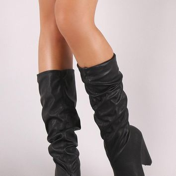 Qupid Pointy Toe Western Chunky Heeled Knee High Boots