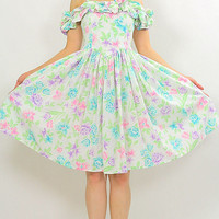 Vintage 80s Pastel Floral Rockabilly party mini dress