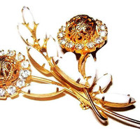 "Juliana White Gold Brooch D and E Flower White Opaque Glass & Rhinestones Gold Filigree Ball Ornaments 2 1/2"" Vintage"