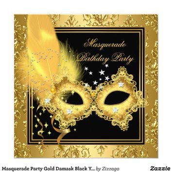 Masquerade Party Gold Damask Black Yellow Mask 2 Invitations from Zazzle.com