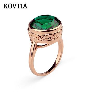 Fashion KOVTIA Brand Green Stone Ring Genuine Austrian Crystal Jewelry Engagement Wedding Bands Gold Color KY95832