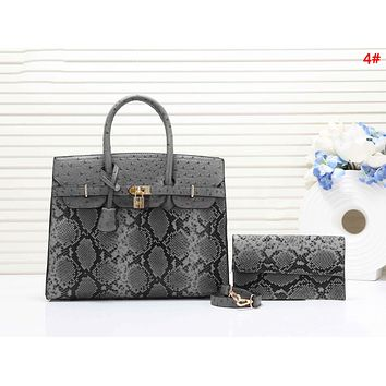 Hermes Fashion New Snake Texture Print Leather Shoulder Bag Women Handbag Two Piece Suit 4#