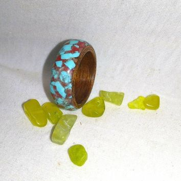 Turquoise Sapele Ruby red stone bent wood ring