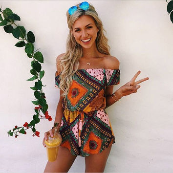 Hot sale A neck wrapped chest printed Cover-Ups chiffon dress  Bohemia short skirt