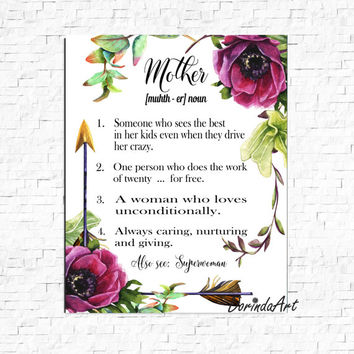 Mother noun printable quote Gift idea for Mom Mother's day present Purple flower Watercolor wall art print 5x7 8x10 11x14 16x20 DOWNLOAD