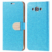 Bling Shinning Pu Leather Flip Case For Samsung Galaxy A8 A8000 Rhinstone Magnetic Buckle Wallet Purse Bag Woman girl Cover