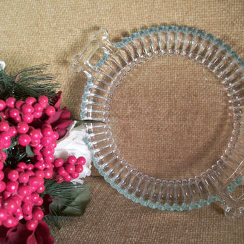 Art Deco Pressed Glass Serving Dish Canape Tray Elegant Vintage 1950's Tableware Simple Elegant  Decorative Glass Platter