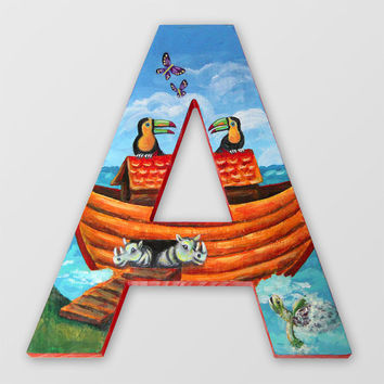 Custom Hand Painted Wooden Letters Animal and/or Sea Life Theme - Childrens' Wall Art Made to Order - Noah's Ark Optional