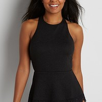 textured peplum top with crocheted hem | maurices