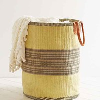 Vintage Yellow + Grey Woven Basket- Assorted One
