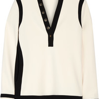 Balenciaga - Embellished two-tone stretch-crepe top